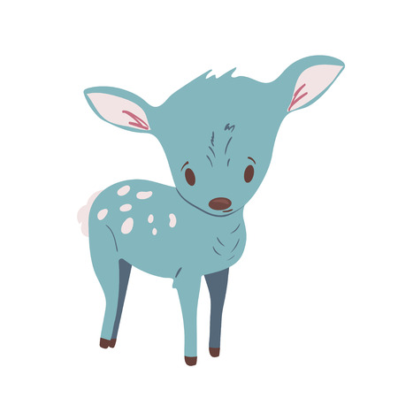 Forest animal vector with isolated cartooning little deer. Good as print card sticker for kids accesories Ilustração