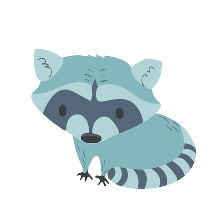 Forest animal vector with isolated cartooning little racoon. Good as print card sticker for kids accesories Ilustração