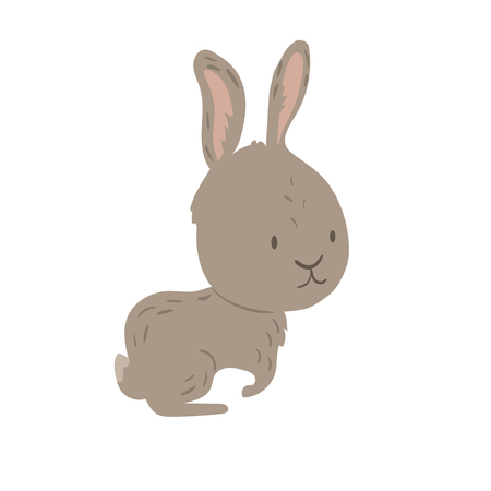 Forest animal vector with isolated cartooning little hare rabbit. Good as print card sticker for kids accesories