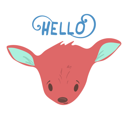 Forest animal little deer portrait vector with isolated cartooning baby deer portrait. Good as print card sticker for kids accesories
