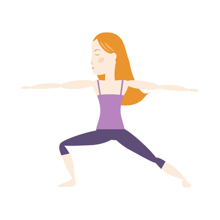 Red hair woman doing yoga warrior pose cartoon vector illustration