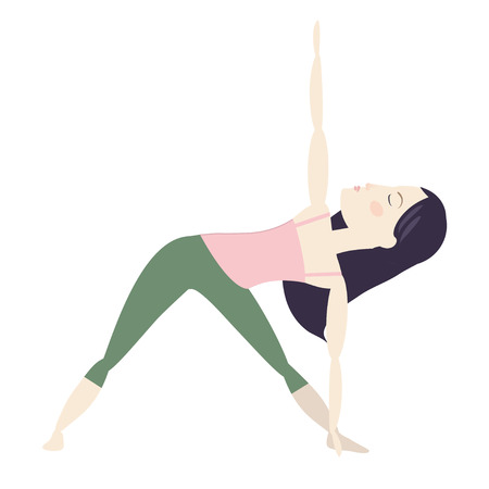 Black hair woman doing yoga extended triangle pose cartoon vector illustration