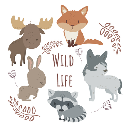 Wild life label rounded by forest animals vector set with isolated cartooning fox wolf rabbit raccoon elk squirrel in cirkle rounded by leafs. Vector cartoon illustration Illustration