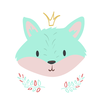 Forest animal fox portrait vector with isolated cartooning fox portrait. Good as print card sticker for kids accesories Ilustração