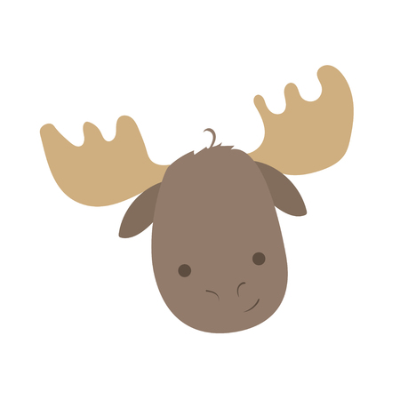 Forest animal portrait vector with isolated cartooning elk moose portrait. Good as print card sticker for kids accesories