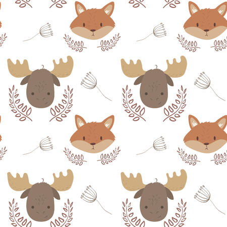 Cute cartoon forest baby animals seamless pattern fox and elk. Cartoon vactor illustration Ilustração