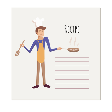 Banner, sticker, a note for the recipe. For the cooking. Man cooks character with kitchen tools for the design of brochures, flyers, web banners. box, card, book. Vector cartoon illustration Ilustração