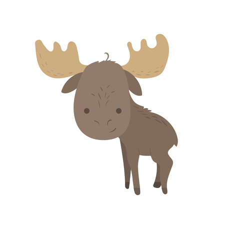 Forest animal vector with isolated cartooning little elk moose. Good as print card sticker for kids accesories