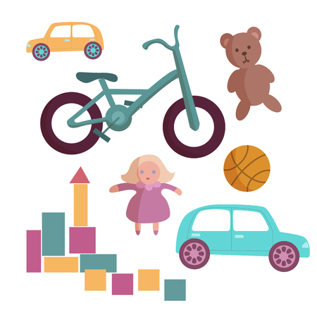 Children toys collection. Toys for kids icons set cartoon vector illustration