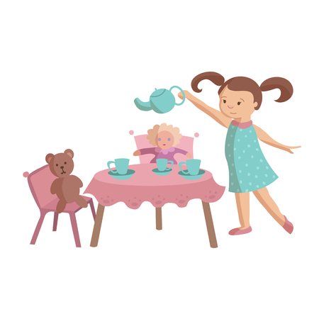 Little girl play tea party with toys teddy bear and doll, pouring tea into the toy cups from tea pot. Cartoon vector illustration