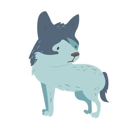 Forest animal vector with isolated cartooning little wolf. Good as print card sticker for kids accesories Ilustração