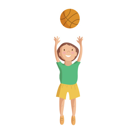 Child kid playing basketball jumping with a ball character cartoon vector illustration Ilustração