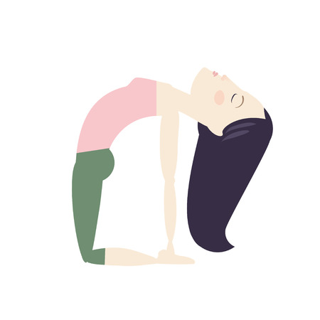 Black hair woman doing yoga camel pose cartoon vector illustration