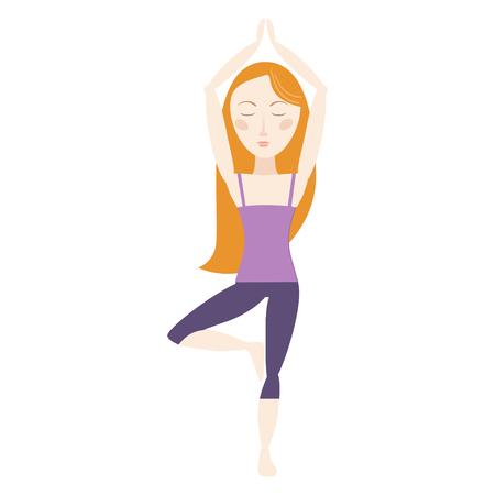 Red hair woman doing yoga tree pose cartoon vector illustration