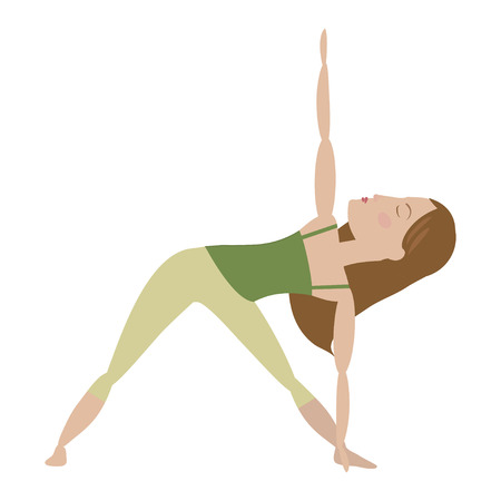 Brown hair woman doing yoga extended triangle pose cartoon vector illustration