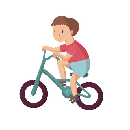 Boy child kid riding bike bycicle character cartoon vector illustration