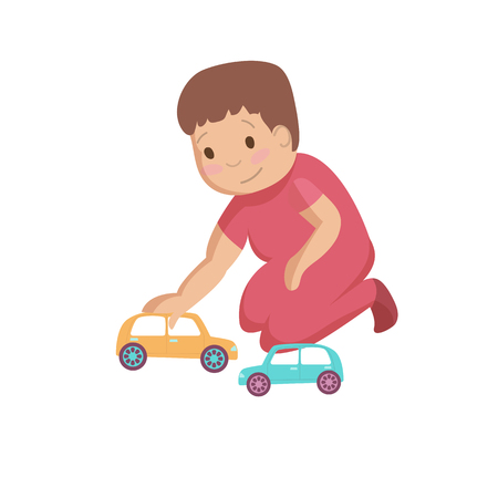 Playing child kid with colorful toy cars cartoon vector illustration