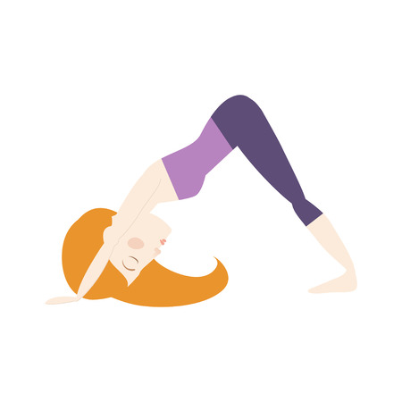 Red hair woman doing yoga dog pose cartoon vector illustration