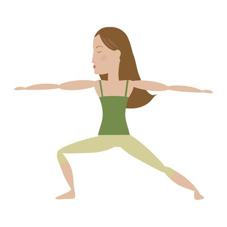Brown hair woman doing yoga warrior pose cartoon vector illustration Ilustração