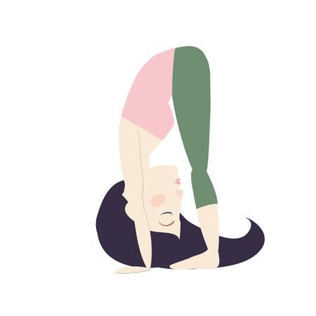 Black hair woman doing yoga big toe pose cartoon vector illustration