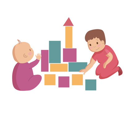 Playing together with colorful building blocks toys children kids siblings brothers friends cartoon vector illustration