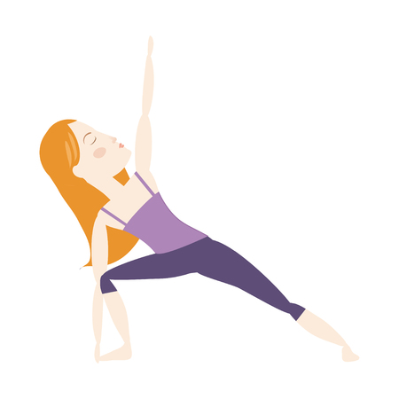 Red hair woman doing yoga extended side angle pose cartoon vector illustration Stock Illustratie