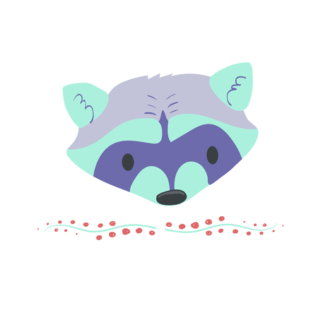 Forest animal portrait vector with isolated cartooning little raccoon portrait. Good as print card sticker for kids accesories