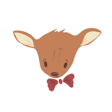 Forest animal portrait vector with isolated cartooning baby deer portrait. Good as print card sticker for kids accesories