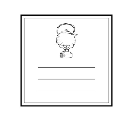 Hand drawn card template with teapot icon and lines vector illustration Vettoriali
