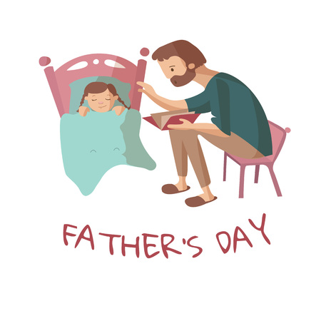 Father reads a book for daughter who is falling asleep at night. Vector cartoon illustration