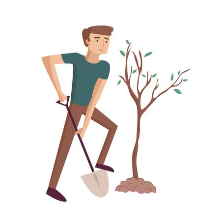 Man plants tree digging with shovel at the garden vector cartoon illustration Çizim