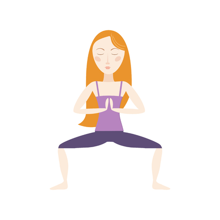 Red hair woman doing yoga pose cartoon vector illustration Ilustração