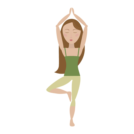 Brown hair woman doing yoga pose cartoon vector illustration
