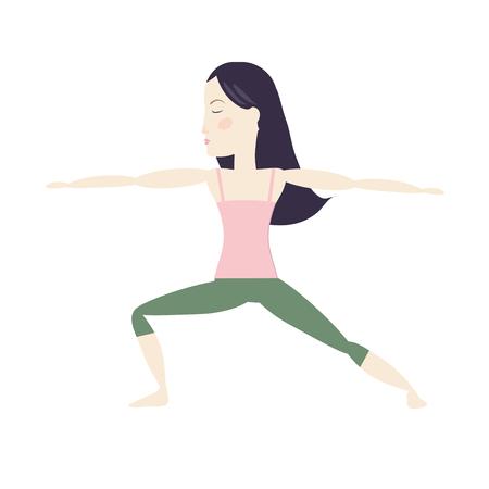 Black hair woman doing yoga warrior pose cartoon vector illustration Ilustração