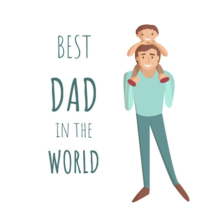 Dad carring son on his shoulders vector cartoon illustration
