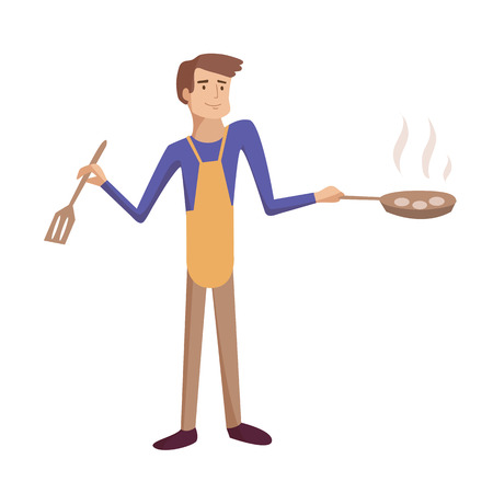 Man cooking frying on the kitchen wearing apron vector cartoon illustration