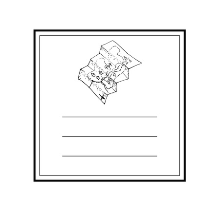Hand drawn card template with map icon and lines vector illustration