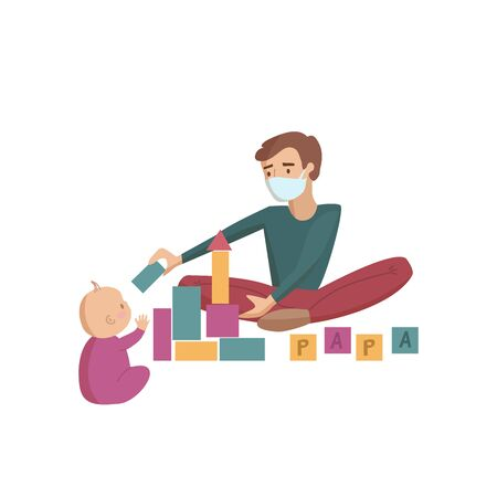 Father wearing medical mask for protection on the flour plays toys with baby child vector