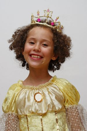 The smiling girl in suit of princess