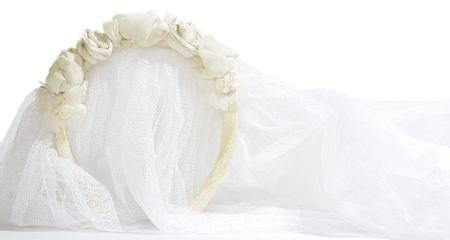 wedding veil on white background