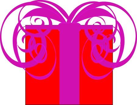 Pink Valentine Day Present Vector