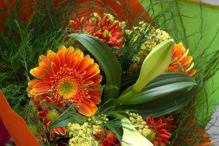 beautiful orange gerber bouquet with greenery