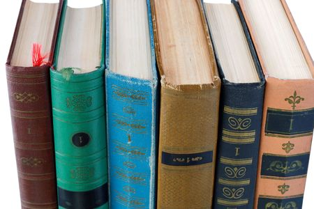 bibliomania: Pile of Old Antique Books with label  Stock Photo