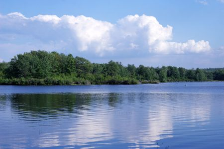 skiff: Clouds over lake Stock Photo