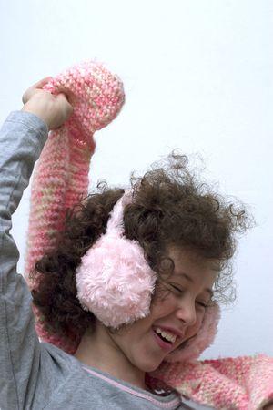 earmuff: Girl with pink earmuff and pink scarf
