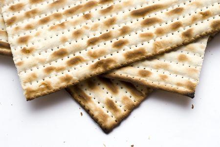 Macro of Three Matzohs (matza), the jewish bread for passover.