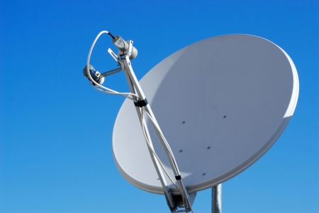 satellite tv: A satellite dish. Lots of copy space.