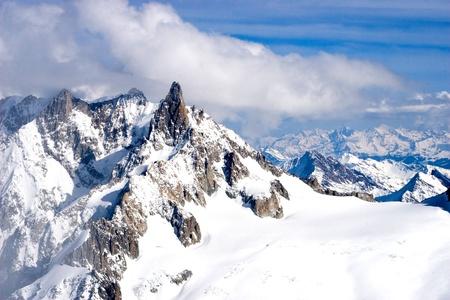 mountain winter view (Mont Blanc, Chamonix, France)