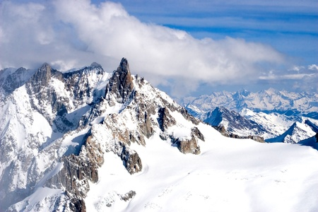 mountain winter view (Mont Blanc, Chamonix, France) photo