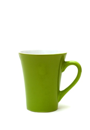 Green cup isolated on white background